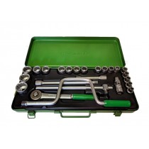 Saltus - Hex Socket Bit Set with 1/2 Ratchet in metal case